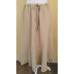 Irish Linen Maxi Skirt Size 10 Embroidered Hem